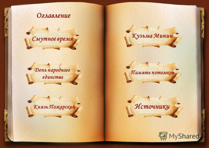 Смутное время Оглавление День народного единства Князь Пожарский Кузьма Минин Память потомков Источники