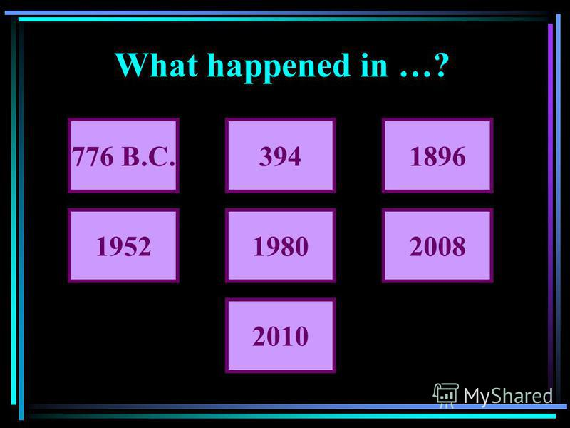 What happened in …? 776 B.C.3941896 195219802008 2010