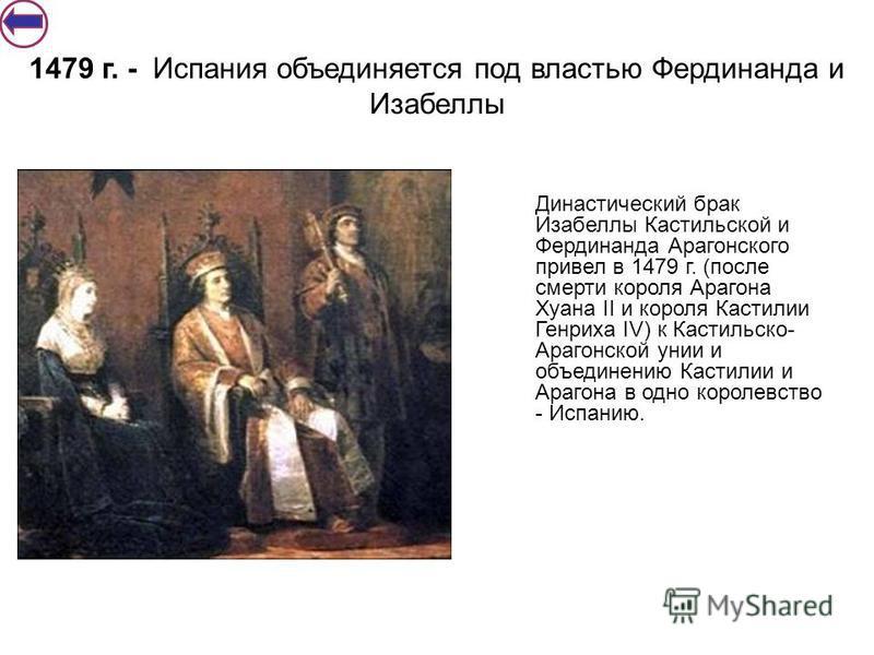 Династический брак Изабеллы Кастильской и Фердинанда Арагонс кого привел в 1479 г. (после смерти короля Арагона Хуана II и короля Кастилии Генриха IV) к Кастильско- Арагонской унии и объединению Кастилии и Арагона в одно королевство - Испанию. 1479 г