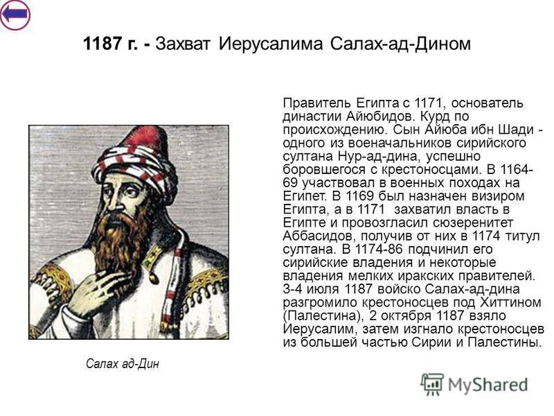 Правитель Египта с 1171, основатель династии Айюбидов. Курд по происхождению. Сын Айюба ибн Шади - одного из военачальников сирийс кого султана Нур-ад-дина, успешно боровшегося с крестоносцами. В 1164- 69 участвовал в военных походах на Египет. В 116