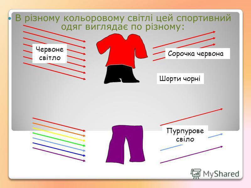 В різному кольоровому свiтлі цей спортивний одяг виглядає по різному: Чeрвоне свiтло Сорочка чeрвона Шoрти чорні Пурпурове свiло