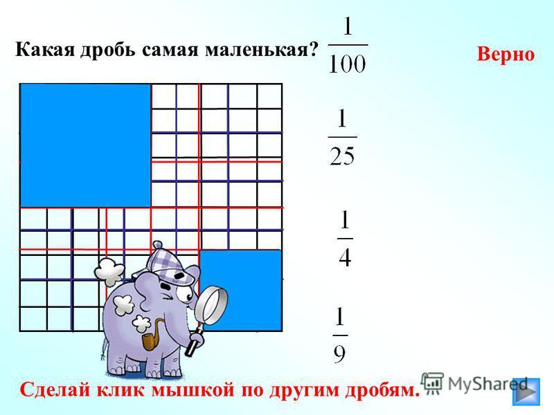 Какая дробь самая маленькая? Верно Сделай клик мышкой по другим дробям.