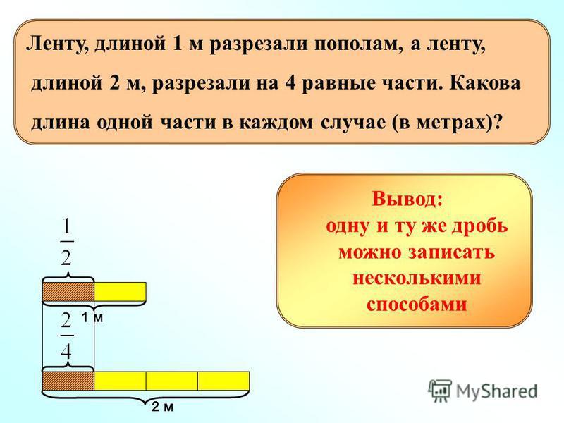1 м 2 м Вывод: одну и ту же дробь можно записать несколькими способами Ленту, длиной 1 м разрезали пополам, а ленту, длиной 2 м, разрезали на 4 равные части. Какова длина одной части в каждом случае (в метрах)?