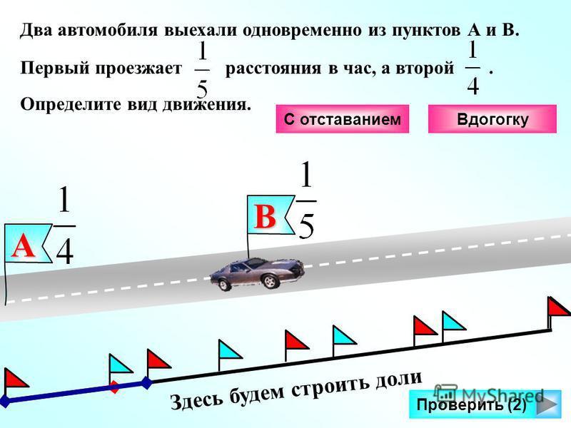 Здесь будем строить доли Проверить (2) Два автомобиля выехали одновременно из пунктов А и В. Первый проезжает расстояния в час, а второй. Определите вид движения.В А С отставанием Вдогогку