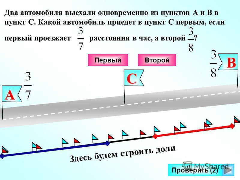 Здесь будем строить доли Проверить (2) В А Два автомобиля выехали одновременно из пунктов А и В в пункт С. Какой автомобиль приедет в пункт С первым, если первый проезжает расстояния в час, а второй ?С Второй Первый
