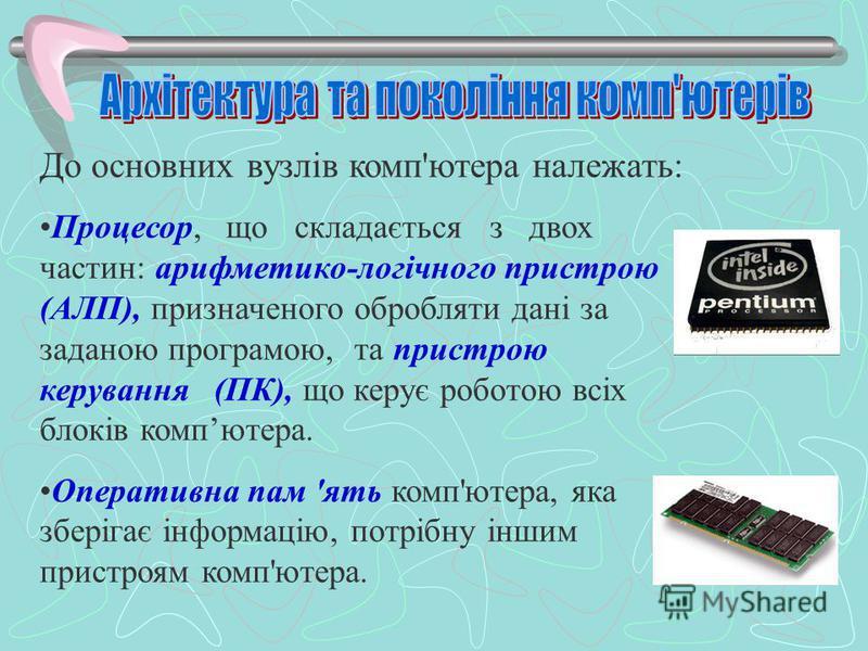 До основних вузлів комп'ютера належать: Процесор, що складається з двох частин: арифметико-логічного пристрою (АЛП), призначеного обробляти дані за заданою програмою, та пристрою керування (ПК), що керує роботою всіх блоків компютера. Оперативна пам