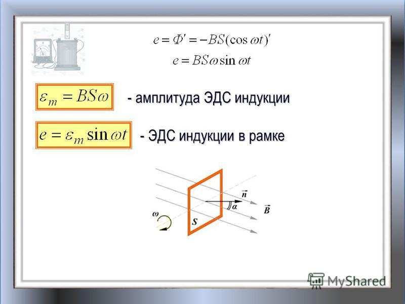 - амплитуда ЭДС индукции - ЭДС индукции в рамке