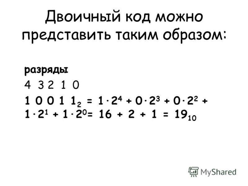 Двоичный код можно представить таким образом: разряды 4 3 2 1 0 1 0 0 1 1 2 = 1·2 4 + 0·2 3 + 0·2 2 + 1·2 1 + 1·2 0 = 16 + 2 + 1 = 19 10