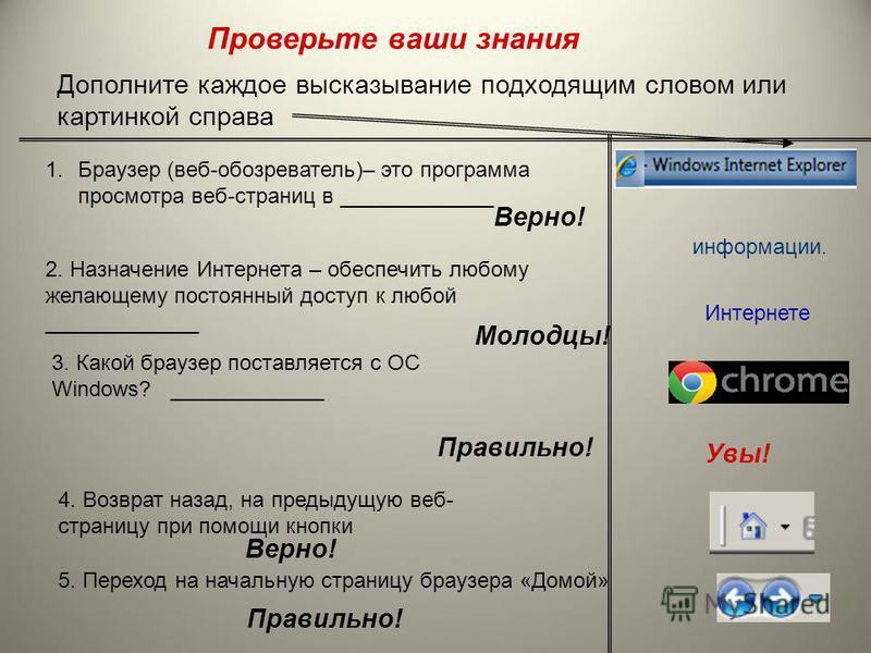 Основные элементы окна браузера Internet Explorer Перемещение Назад и Вперед Адресная строка, (адрес сайта) Остановка процесса доступа к документам Интернета Обновить содержание страницы Домой Начальная страница браузера Переход к поисковой странице