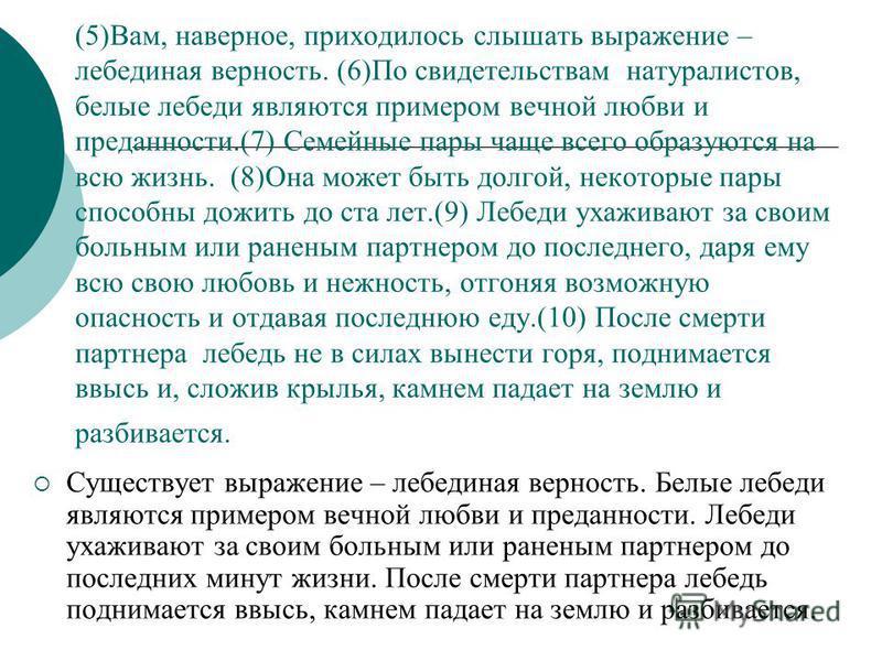 (5)Вам, наверное, приходилось слышать выражение – лебединая верность. (6)По свидетельствам натуралистов, белые лебеди являются примером вечной любви и преданности.(7) Семейные пары чаще всего образуются на всю жизнь. (8)Она может быть долгой, некотор
