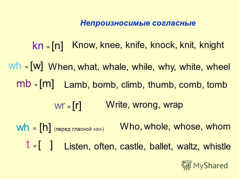 Непроизносимые согласные kn = [n] Know, knee, knife, knock, knit, knight wh = [w] When, what, whale, while, why, white, wheel mb = [m] Lamb, bomb, climb, thumb, comb, tomb wr = [r] Write, wrong, wrap wh = [h] (перед гласной «о») Who, whole, whose, wh