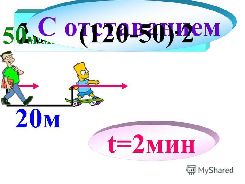 20 + 20 м 50 м/мин 120 м/мин С отставанием t=2 мин (120-50)2