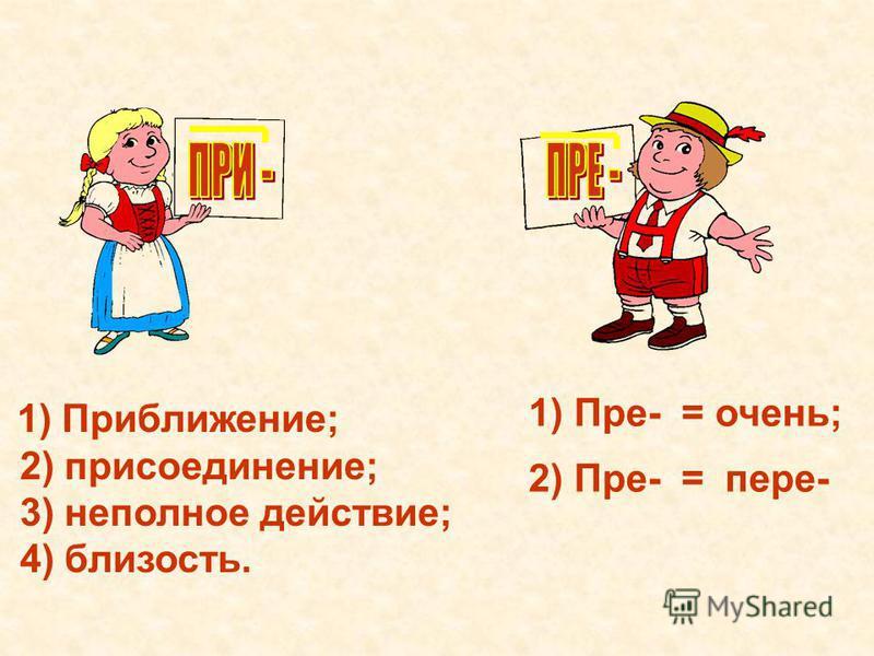 1) Приближение; 2) присоединение; 3) неполное действие; 4) близость. 1) Пре- = очень; 2) Пре- = пере-