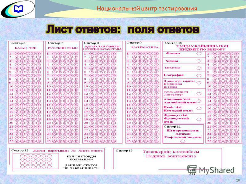 20 Национальный центр тестирования