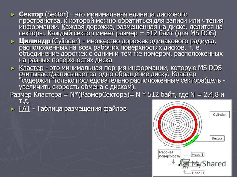 Сектор (Sector) - это минимальная единица дискового пространства, к которой можно обратиться для записи или чтения информации. Каждая дорожка, размещенная на диске, делится на секторы. Каждый сектор имеет размер = 512 байт (для MS DOS) Сектор (Sector