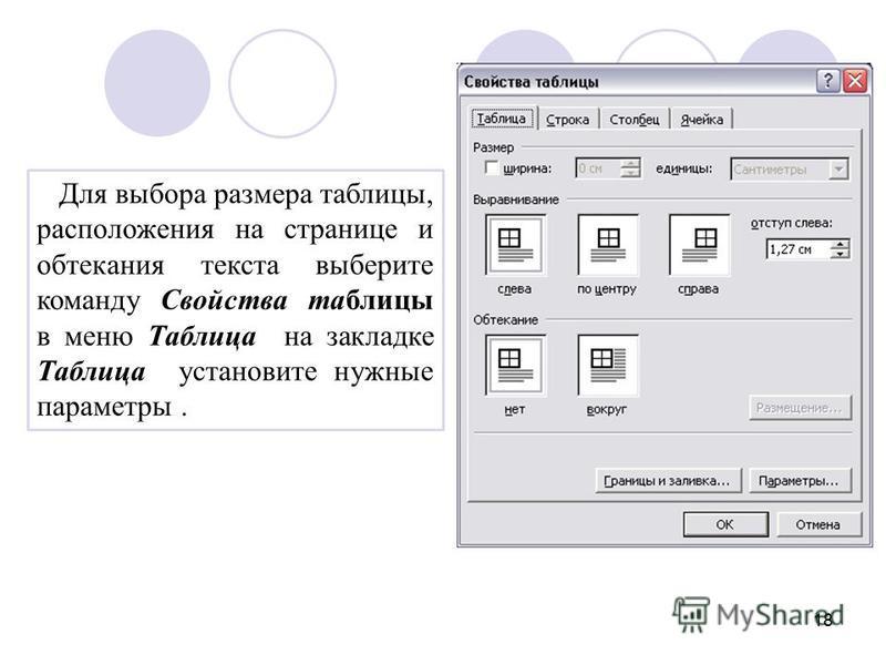 18 Для выбора размера таблицы, расположения на странице и обтекания текста выберите команду Свойства таблицы в меню Таблица на закладке Таблица установите нужные параметры.