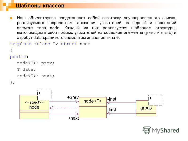 Наш объект-группа представляет собой заготовку двунаправленного списка, реализуемого посредством включения указателей на первый и последний элемент типа node. Каждый из них реализуется шаблоном структуры, включающим в себя помимо указателей на соседн