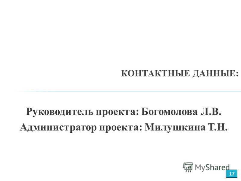 Руководитель проекта: Богомолова Л.В. Администратор проекта: Милушкина Т.Н. КОНТАКТНЫЕ ДАННЫЕ: 17