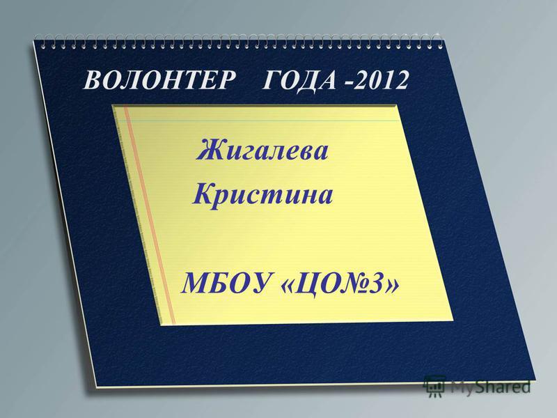 ВОЛОНТЕР ГОДА -2012 Жигалева Кристина МБОУ «ЦО3»