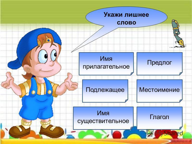Глагол Обозначает признаки предметов Местоимение Имя прилагательное Имя существительное