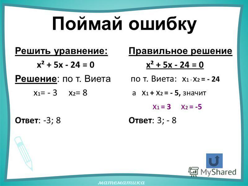 математика Поймай ошибку Решить уравнение: х² + 5х - 24 = 0 Решение: по т. Виета х 1 = - 3 х 2 = 8 Ответ: -3; 8 Правильное решение х² + 5х - 24 = 0 по т. Виета: х 1 · х 2 = - 24 а х 1 + х 2 = - 5, значит х 1 = 3 х 2 = -5 Ответ: 3; - 8