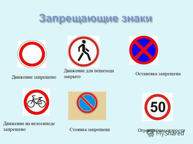 Движение запрещено Движение для пешехода закрыто Остановка запрещена Движение на велосипеде запрещено Стоянка запрещена Ограничение скорости