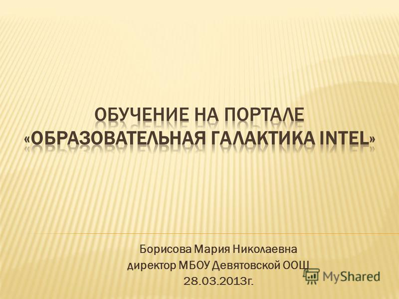 Борисова Мария Николаевна директор МБОУ Девятовской ООШ 28.03.2013 г.