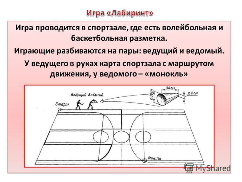 Игра проводится в спортзале, где есть волейбольная и баскетбольная разметка. Играющие разбиваются на пары: ведущий и ведомый. У ведущего в руках карта спортзала с маршрутом движения, у ведомого – «монокль» Игра проводится в спортзале, где есть волейб