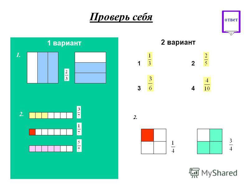 1. Опишите, используя дробные числа заштрихованные части фигур 2 вариант 12 34 1 вариант 1. Начертите в тетради квадрат со стороной 6 клеток. Разделите его на 3 равные части и закрасьте квадрата. 2. Используя цветные карандаши, изобразите дробные чис