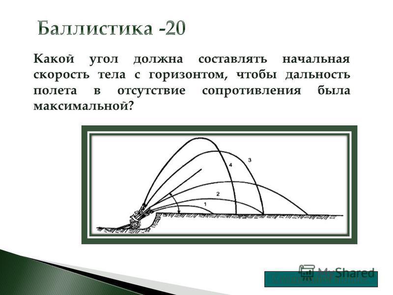 Какой угол должна составлять начальная скорость тела с горизонтом, чтобы дальность полета в отсутствие сопротивления была максимальной?