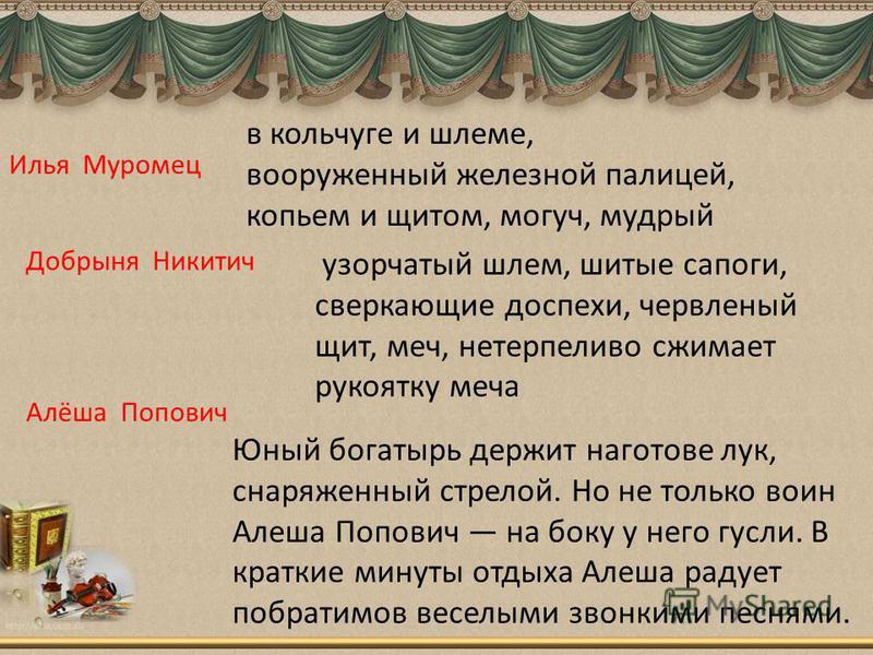 Илья Муромец в кольчуге и шлеме, вооруженный железной палицей, копьем и щитом, могуч, мудрый Добрыня Никитич узорчатый шлем, шитые сапоги, сверкающие доспехи, червленый щит, меч, нетерпеливо сжимает рукоятку меча Алёша Попович Юный богатырь держит на