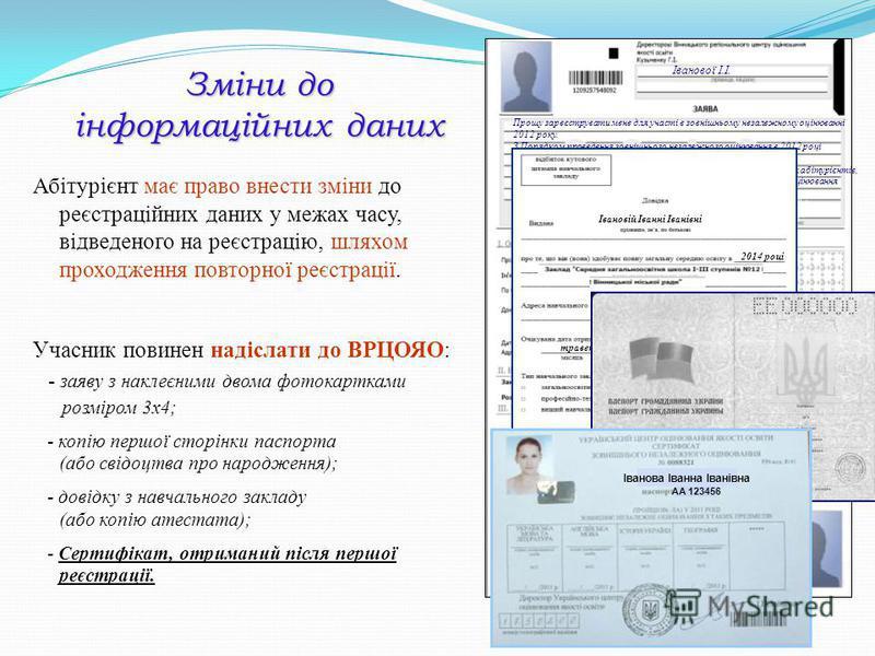 Прошу зареєструвати мене для участі в зовнішньому незалежному оцінюванні 2012 року. З Порядком проведення зовнішнього незалежного оцінювання в 2012 році ознайомлена Не заперечую щодо внесення моїх персональних даних до бази даних абітурієнтів, а тако
