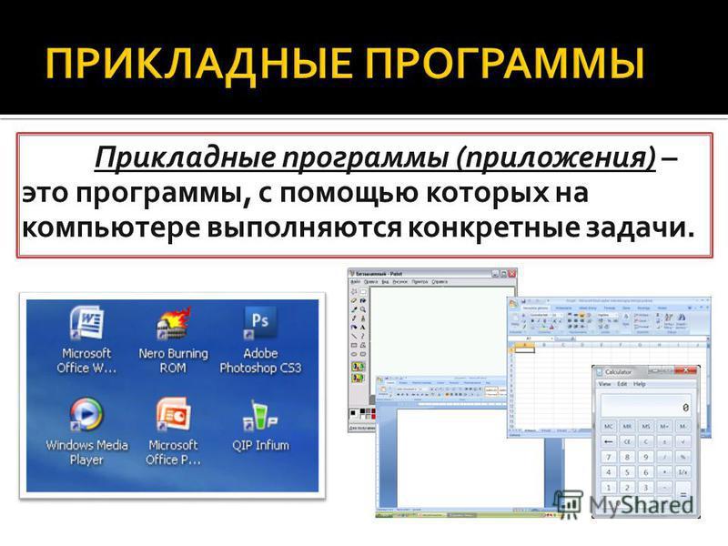 Прикладные программы (приложения) – это программы, с помощью которых на компьютере выполняются конкретные задачи.