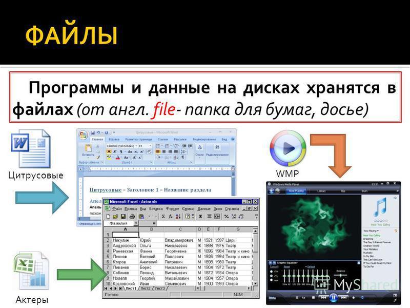 Программы и данные на дисках хранятся в файлах (от англ. file- папка для бумаг, досье) Цитрусовые Актеры WMP