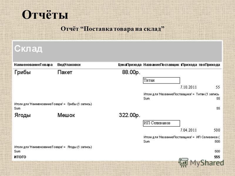 Отчёты Отчёт Поставка товара на склад