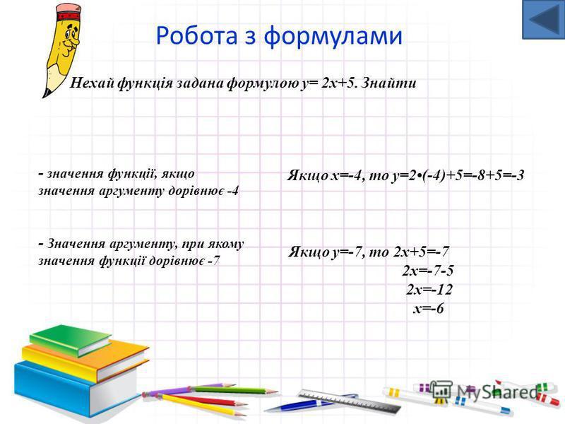 Незалежну змінну (х) ще називають аргументом Залежну змінну (у) ще називають функцією або значенням функції У цьому випадку пишуть у ( х)