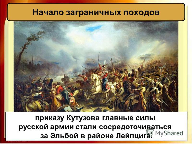 Начало заграничных походов приказу Кутузова главные силы русской армии стали сосредоточиваться за Эльбой в районе Лейпцига.