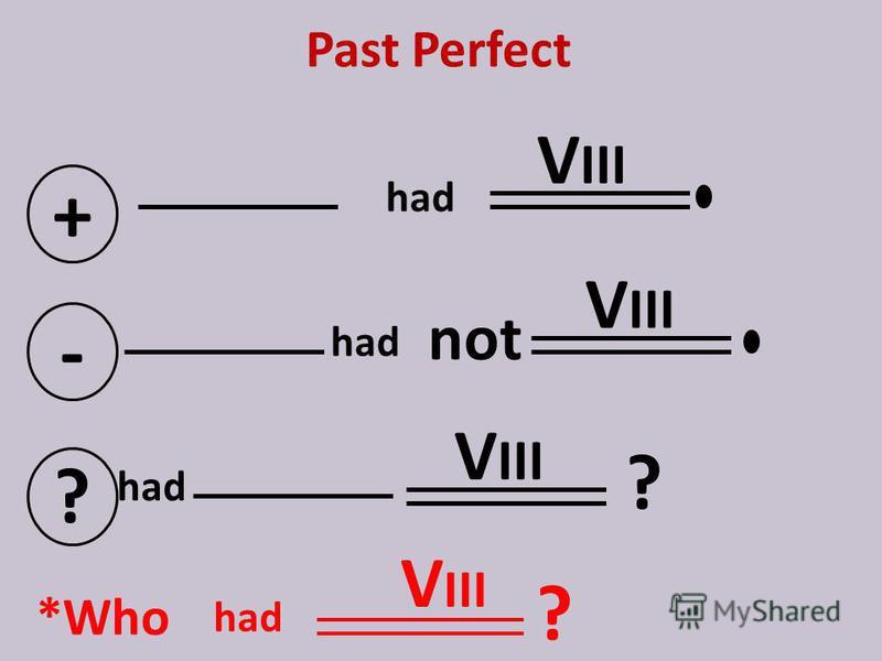Past Perfect + V III - not ? ? *Who V III ? had V III had