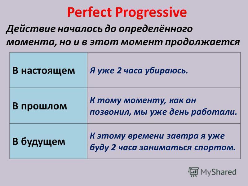 Perfect Progressive Действие началось до определённого момента, но и в этот момент продолжается В настоящем Я уже 2 часа убираюсь. В прошлом К тому моменту, как он позвонил, мы уже день работали. В будущем К этому времени завтра я уже буду 2 часа зан