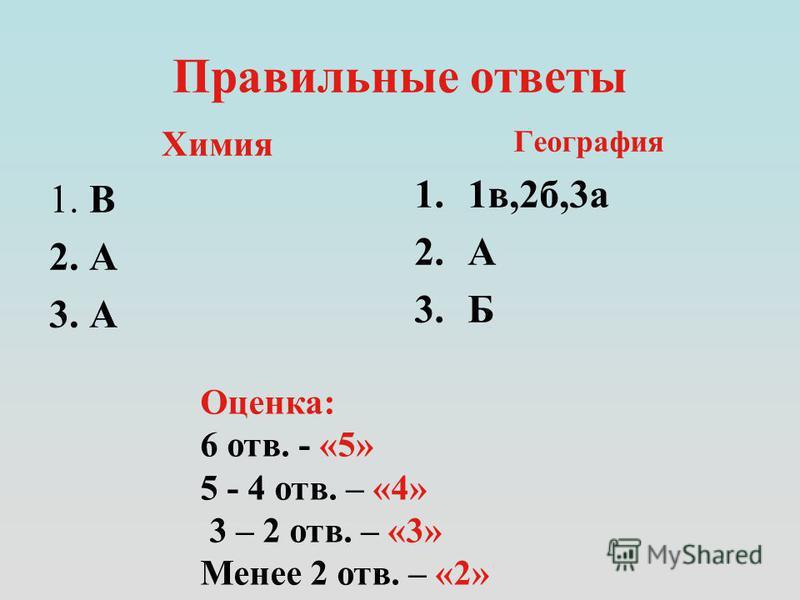 Правильные ответы География 1.1 в,2 б,3 а 2. А 3. Б Химия 1. В 2. А 3. А Оценка: 6 отв. - «5» 5 - 4 отв. – «4» 3 – 2 отв. – «3» Менее 2 отв. – «2»
