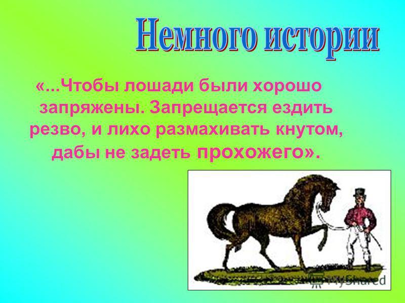 «...Чтобы лошади были хорошо запряжены. Запрещается ездить резво, и лихо размахивать кнутом, дабы не задеть прохожего».