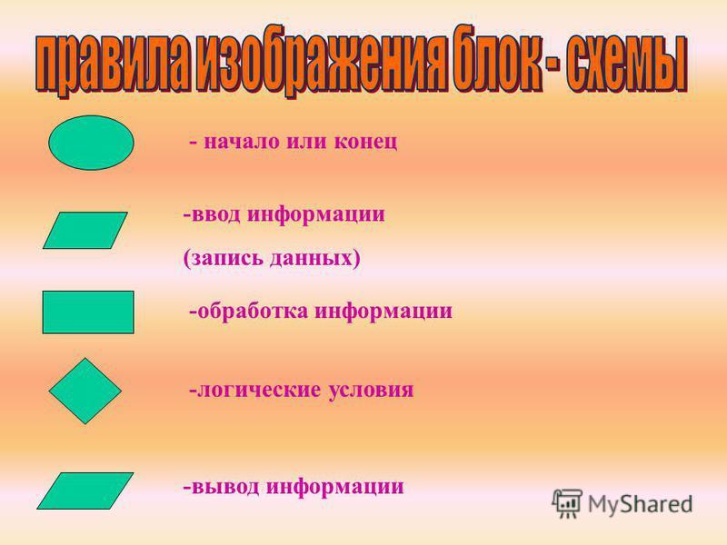 - начало или конец -ввод информации (запись данных) -обработка информации -логические условия -вывод информации