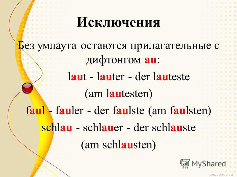 Исключения Без умлаута остаются прилагательные с дифтонгом au: laut - lauter - der lauteste (am lautesten) faul - fauler - der faulste (am faulsten) schlau - schlauer - der schlauste (am schlausten)