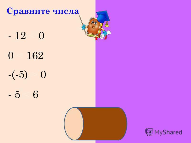 Сравните числа - 12 < 0 0 < 162 -(-5) > 0 - 5 < 6