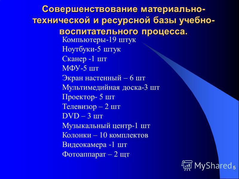 Совершенствование материально- технической и ресурсной базы учебно- воспитательного процесса. 5 Компьютеры-19 штук Ноутбуки-5 штук Сканер -1 шт МФУ-5 шт Экран настенный – 6 шт Мультимедийная доска-3 шт Проектор- 5 шт Телевизор – 2 шт DVD – 3 шт Музык
