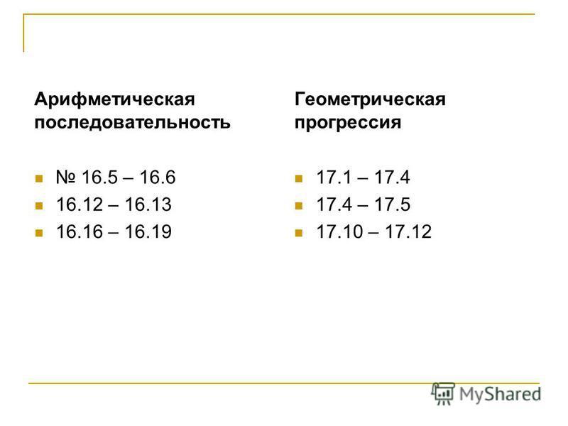 Арифметическая последовательность 16.5 – 16.6 16.12 – 16.13 16.16 – 16.19 Геометрическая прогрессия 17.1 – 17.4 17.4 – 17.5 17.10 – 17.12