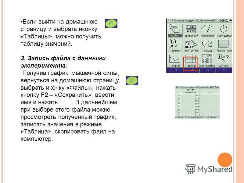 Если выйти на домашнюю страницу и выбрать иконку «Таблицы», можно получить таблицу значений. 3. Запись файла с данными эксперимента: Получив график мышечной силы, вернуться на домашнюю страницу, выбрать иконку «Файлы», нажать кнопку F2 – «Сохранить»,