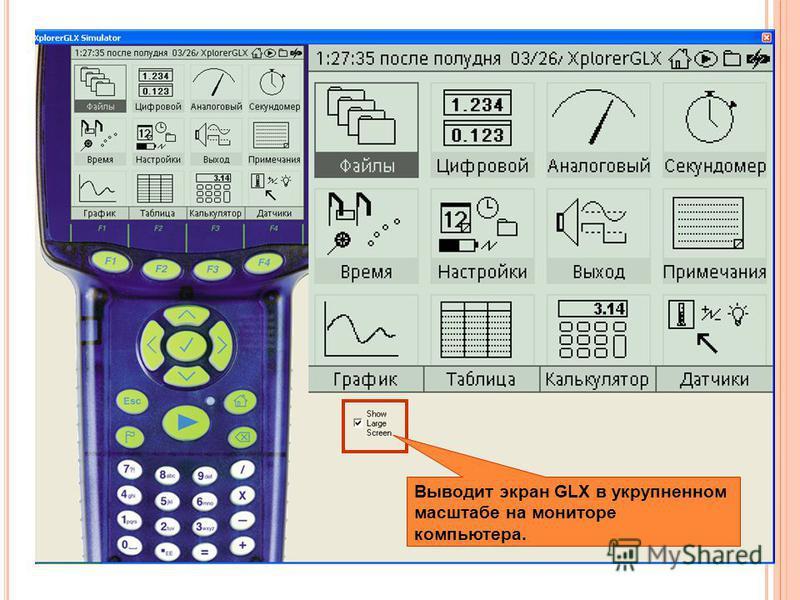 Выводит экран GLX в укрупненном масштабе на мониторе компьютера.