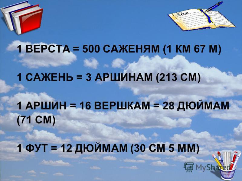 1 ВЕРСТА = 500 САЖЕНЯМ (1 КМ 67 М) 1 САЖЕНЬ = 3 АРШИНАМ (213 СМ) 1 АРШИН = 16 ВЕРШКАМ = 28 ДЮЙМАМ (71 СМ) 1 ФУТ = 12 ДЮЙМАМ (30 СМ 5 ММ)