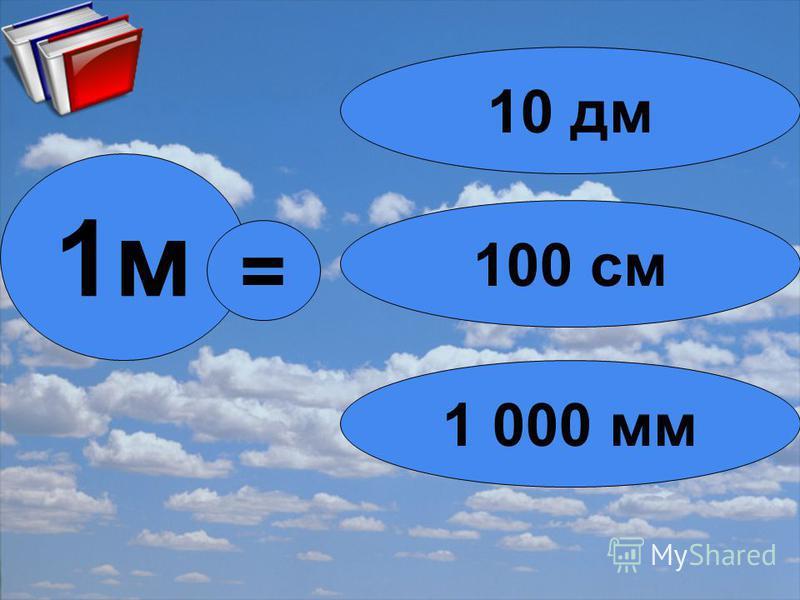 1 м = 100 см 10 дм 1 000 мм